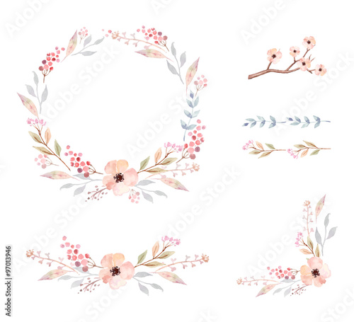 Floral Frame Collection. Set of cute watercolor flowers.\