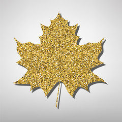 Maple leaf  illustration. Golden icon
