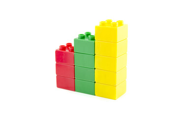 image concept of business growth. colorful building blocks isolated white background