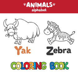 Animals alphabet or ABC. Coloring book