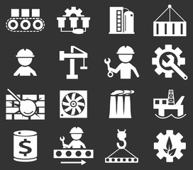 flat industry icons set