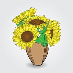 Vase with sunflower bouquet.