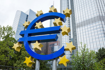 Frankfurt, Germany-August 16 : Euro Sign. European Central Bank (ECB) is the central bank for the euro and administers the monetary policy of the Eurozone. August 16, 2015 in Frankfurt, Germany. .