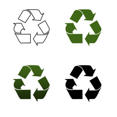 Recycling logo. green and black colors