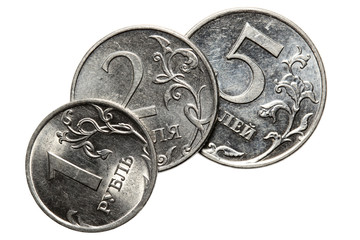 The Russian coins on a white background