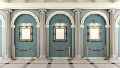 Classic museum with golden frame on wall
