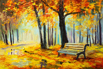 Foto op Canvas Meloen Oil painting landscape - colorful autumn forest