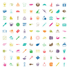 kitchen 100 icons set for web