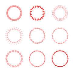 Set of round and circular decorative patterns for design frameworks and banners. Red