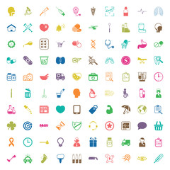 medicine 100 icons set for web