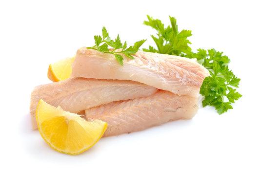 Raw Hake fish fillet pieces.