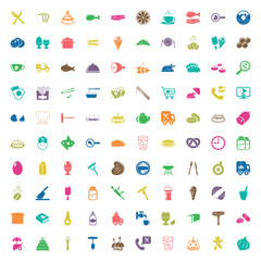 food 100 icons set for web