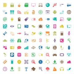 technology 100 icons set for web