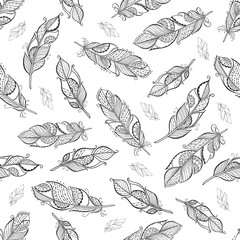 Vintage ethnic boho feathers seamless pattern.