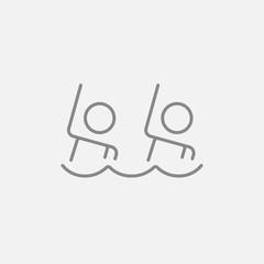 Synchronized swimming line icon.