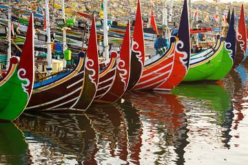 Colorful fishing boats in Muncar village in Banyuwangi, Indonesia