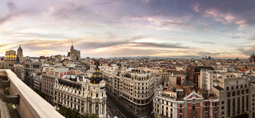 Panoramical aerial view of Madrid