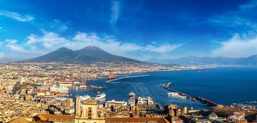 Fotobehang Napels Napoli and mount Vesuvius in Italy