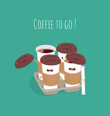 """Paper coffee cup """"Coffee to go"""". Comic characters. Vector illustratins"""