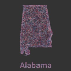 Colorful line art map of Alabama state