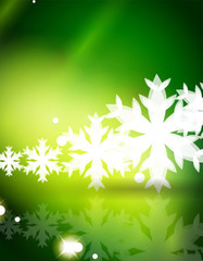 Christmas green abstract background with white transparent snowflakes