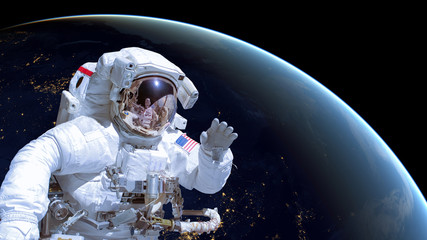 Wall Murals Nasa Close up of an astronaut in outer space, earth by night in the background. Elements of this image are furnished by NASA