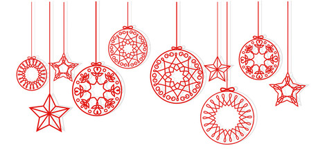 Christmas balls and stars hanging on white background vector.