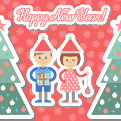 Boy and girl with gifts decorate Christmas tree. Postcard.