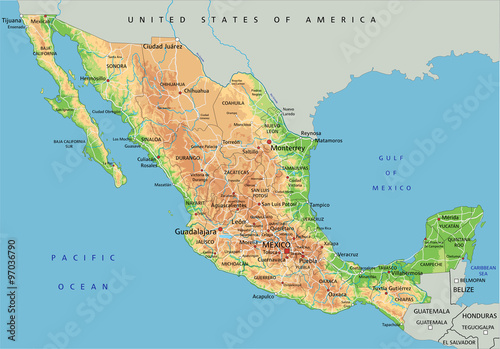 High detailed Mexico physical map with labeling.\