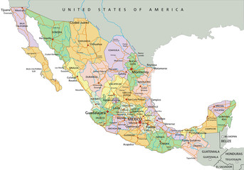 Mexico - Highly detailed editable political map with labeling.