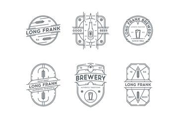 Set of Hipster Vintage beer labels, logotypes, badges.