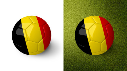 3d realistic soccer ball with the flag of Belgium on it isolated on white background and on green soccer field. See whole set for other countries.