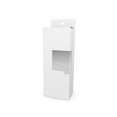 cardboard box with a transparent plastic window
