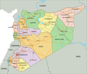 Syria - Highly detailed, editable political map with labeling.