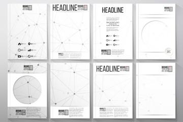 Set of business templates for brochure, flyer or booklet. Molecular structure design, scientific vector background