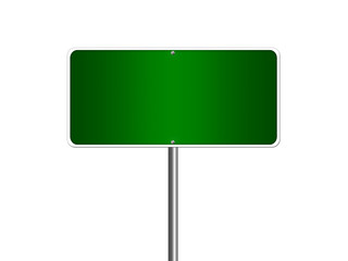 High resolution blank road sign empty highway street green signage isolated on white.