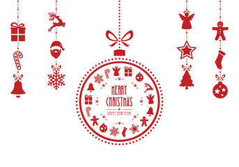 christmas bauble ornaments red isolated background