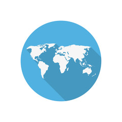 Icon world map on a blue circle in a flat design