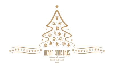 christmas tree decoration elements isolated background