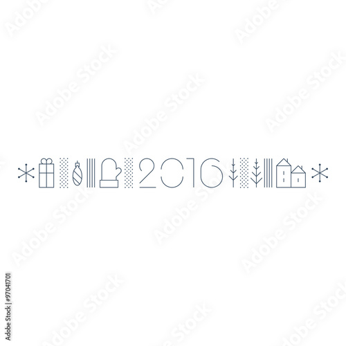 new year theme border for a greeting card or window dressing thickness of strokes is