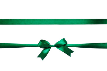 Horizontal green emerald satin ribbon bow on white background isolated