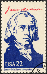 USA - 1986: shows portrait James Madison Jr. (1751-1836)