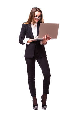 Businesswoman use of laptop computer. Isolated on white background.