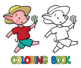 Walking little piglet coloring book