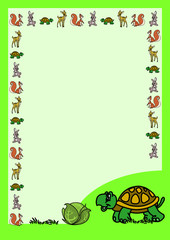 Letter form with a cartoon turtle