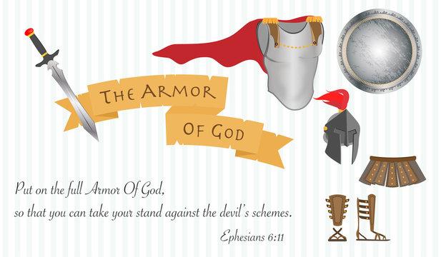 The Armor of God Christianity Love Jesus Christ Bible Vector Illustration