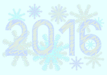 Happy New Year 2016 year on blue background with snowflakes