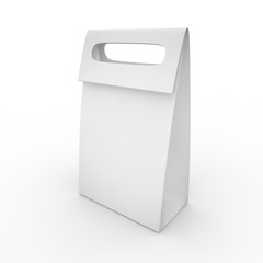 White blank package with handle on white background