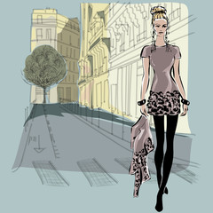 Wall Mural - Fashion models in sketch style with Paris city background