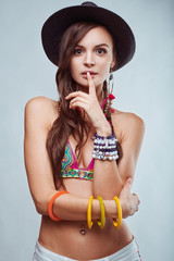 Portrait of beautiful young hipster woman